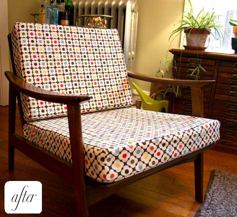 Delightful Starting With An Orla Kiely Tablecloth From Target, Kelly Decided To Make  Cushions For A Thrift Store Chair She Had. She Did The Upholstery Herself  And ...