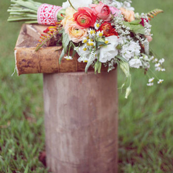 peach floral wedding shoot