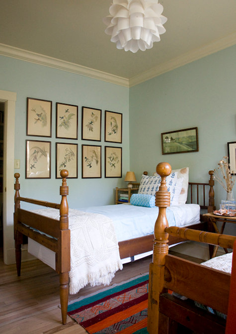 Vintage Bird Prints Above Bed From Sneak K Lucy Allen Gillis