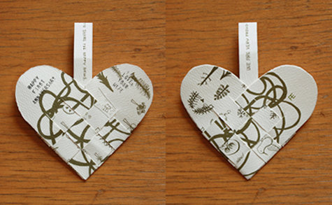 This Woven Paper Heart Was Erin S First Anniversary Gift To Her Husband It Made Out Of Leftover Wedding Invitations