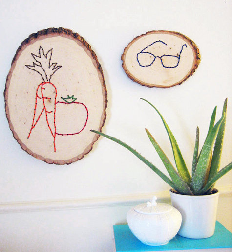 embroidered logs