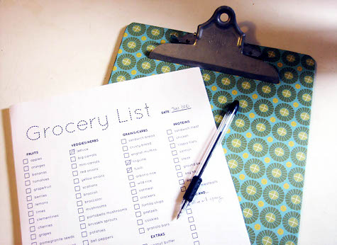 grocery planner list