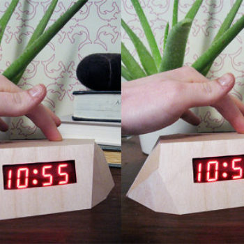 diy project: faceted wood alarm clock