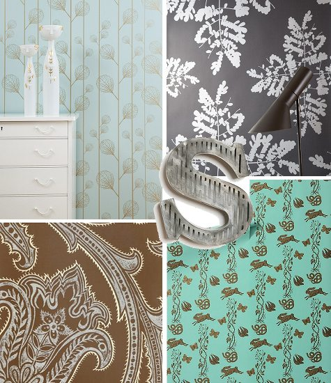 [image sources, clockwise from top left: ribbed wallpaper $85, little leaves wallpaper $85, grand game wallpaper $88, jaisamand wallpaper $74.99, ...