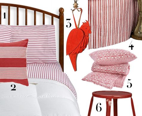 Sources 1 Red Ticking Sheets 79 I Have These And Love Them 2 Lee Pillow By Madeline Weinrib 3 Parrot Clutch 598 To Go With The Animal