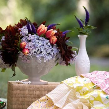 summer florals: milk glass fantasy picnic