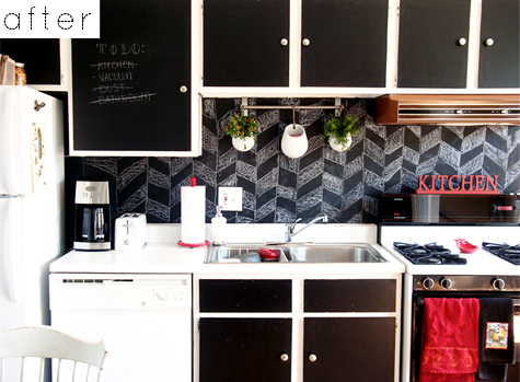 Before After Justine's Backsplash Carrie's Lamp Vases Design Custom Chalkboard Paint Backsplash