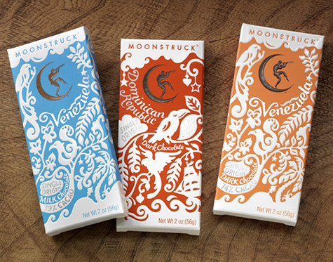 Moonstruck Chocolate Packaging Design Sponge