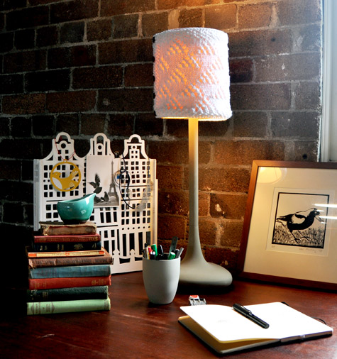 Diy project polli knitters cozy lamp shade designsponge i believe ive compiled enough anecdotal evidence to prove that all artists and designers share a love of discovering new materials i can say from personal aloadofball Gallery