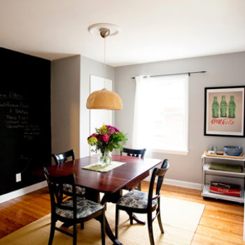 before & after: dining room + play kitchen