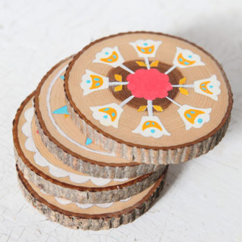 diy project: paint-by-number hex symbol coasters