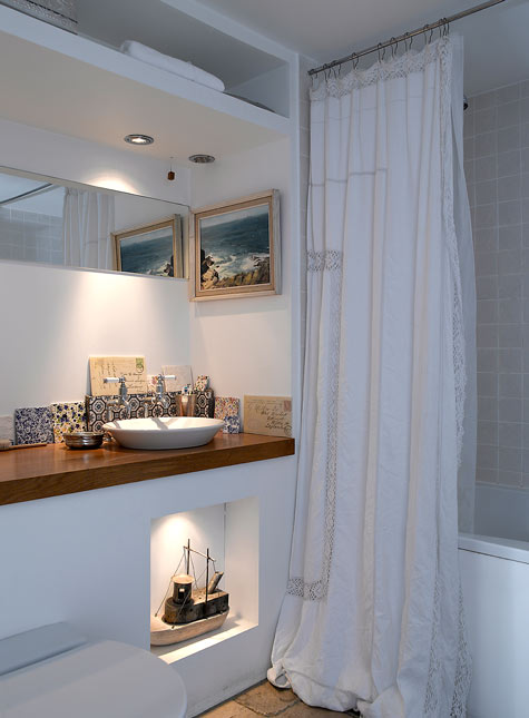 Image Above The Bathroom Was Put In By Previous Owners And Has A Lovely Lime Stone Floor Shower Curtain Is Made From An Old Linen Tablecloth You