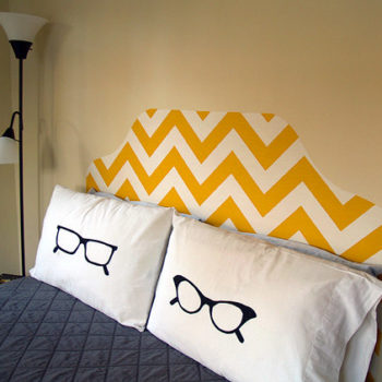 genius idea: starched fabric headboard
