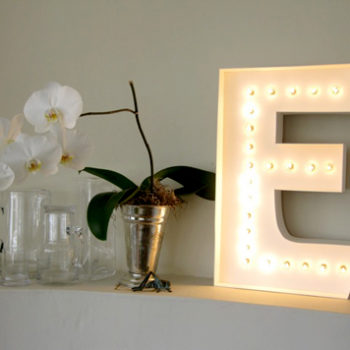 diy project: paper marquee letter lamp