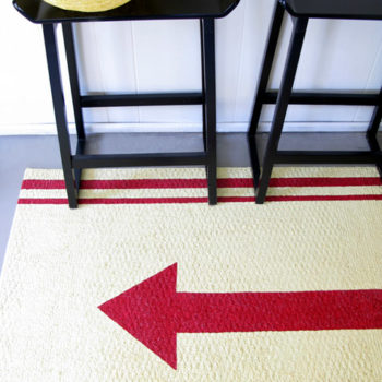 before & after: painted rug + pet-supply cabinet