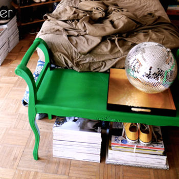 before & after: brass lamp redo + bench makeover