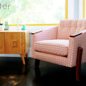 before & after: console table + upholstered chair