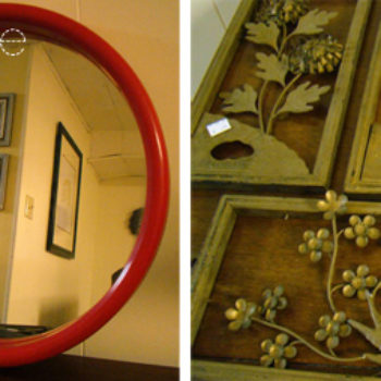before & after: ruler pendant lamp + gilded floral mirror