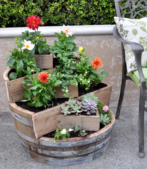 diy project: recycled barrel planter