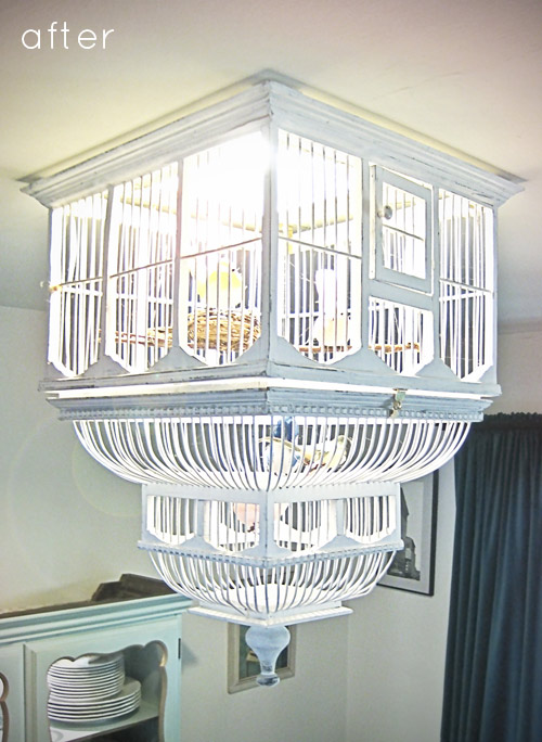 Before after birdcage chandelier designsponge time 45 minutes aloadofball
