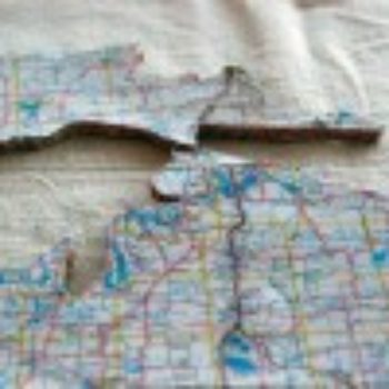 diy project: recycled road map cork board