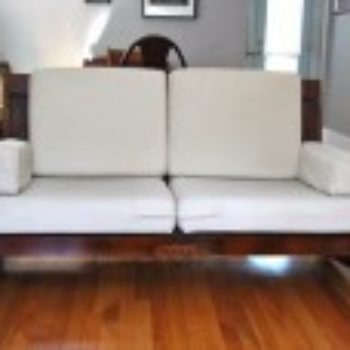 before & after: sofa made from old doors