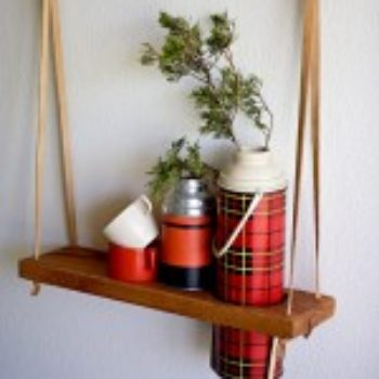 diy project: hanging vintage thermos display shelf