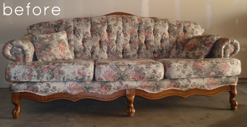 Before Amp After Reupholstered Sofa With Custom Fabric