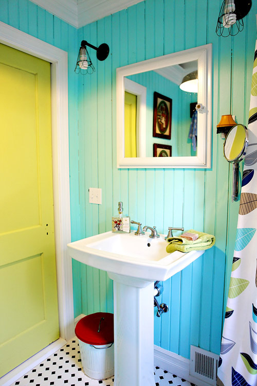 Before after two colorful salvage style bathrooms design sponge - Design sponge bathrooms ...