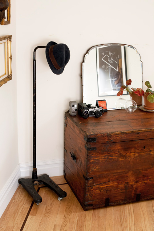 Image above: In New York City, there are so many treasures left out in the  streets. This hat rack is a repurposed mannequin stand, and I found the  mirror on ...