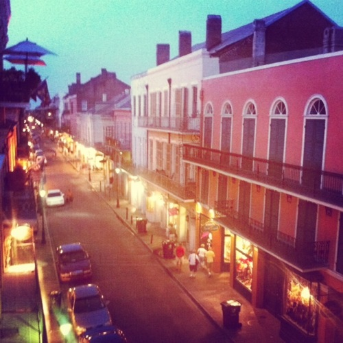 View at dusk down Royal St. in the French Quarter