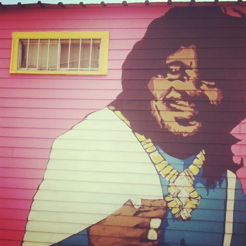 Ernie K. Doe mural on the side of Euclid Records