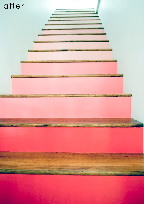 Before Amp After Painted Stairs Card Catalog Transformation Design Sponge
