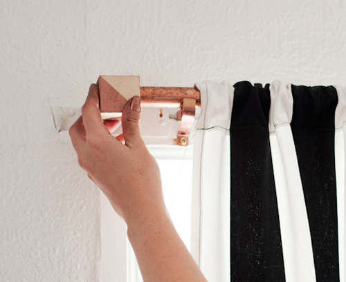Diy Project Copper Curtain Rod With Geometric Cube