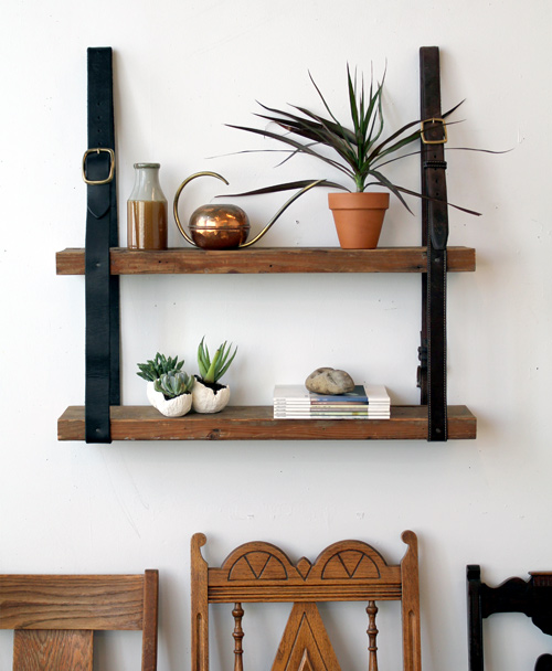 Diy Project: Recycled Leather & Wood Shelf
