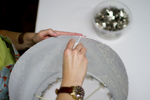 Upholstery basics how to make a lampshade designsponge carefully pull the top ring up without pulling it out of the shade and use the bulldog clips to attach it to the top edge of the shade the top ring keyboard keysfo Gallery