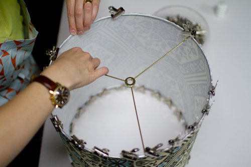 Upholstery basics how to make a lampshade designsponge the rings should fit greentooth Image collections