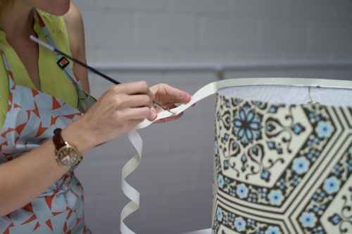 Upholstery basics how to make a lampshade designsponge cut out a small triangle centered over every brace in the top ring greentooth Choice Image