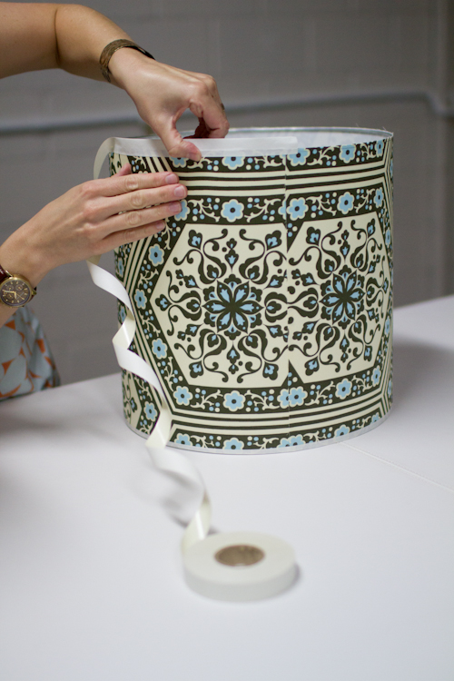 Upholstery basics how to make a lampshade designsponge continue gluing all the way around cutting the end of the tape even with the seam in the shade aloadofball Image collections