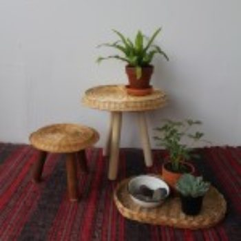 diy project: woven wicker plate stools