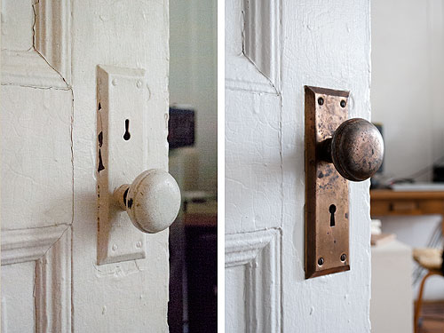 before after cleaning vintage metal hardware design sponge