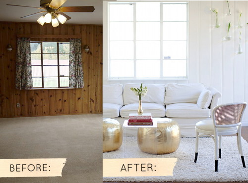 Before after sarah s real world makeover design sponge Paneling makeover ideas