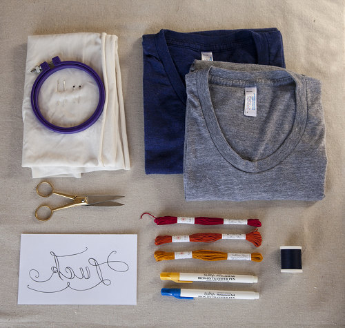 Embroidery 101 luck on my side t shirt backstitch for T shirt design materials