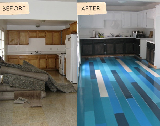 Before After David S Blue Floors