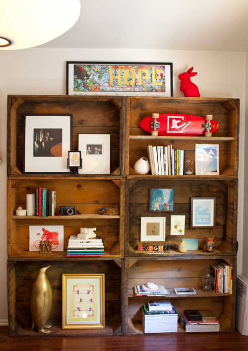 image above these shelves were created from wine crates nailed into the wall the large size of the shelves make it perfect for displaying large objects - Wall Sized Bookshelves