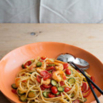 in the kitchen with: kristina's pasta with shrimp, zucchini, and cherry tomatoes