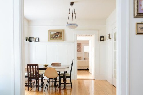 Exceptional Image Above: The Dining Table Was A $45 Craigslist Purchase. We Painted The  Lower Edge Of The Table With A Band Of White And Added Mix Matched Chairs  To ...