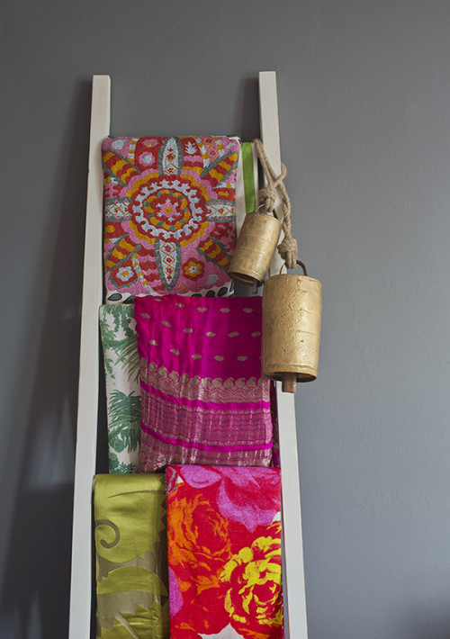 Falling in love on almost an hourly basis is a bit of an occupational hazard when you're as immersed in the design and furnishings world as I am so editing has become a key skill. Whilst I'll admit to having several trunks filled with fabrics in the loft this ladder allows me to display some of my favourites; fabrics are an endless supply of inspiration and an invaluable colour resource.