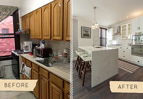 Before After A Queens Townhouse Kitchen Gets A Chic Update Design Sponge