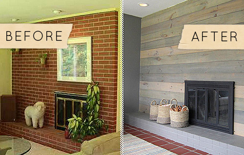 Excellent Before After A Kitschy Midcentury Fireplace Goes From Home Interior And Landscaping Fragforummapetitesourisinfo